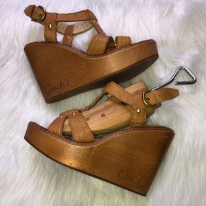 Coach Mayra Grainy Calf Leather Wooden Wedges 6.5